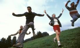 jumping on green grass