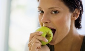 healthy woman eating