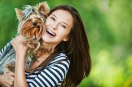 yorkie and woman