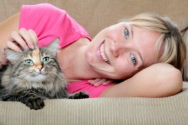 happy woman and cat