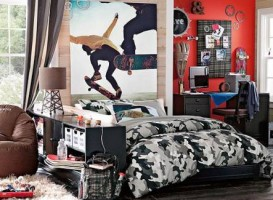 This teen's room is far too active with skate boards leaping over-head