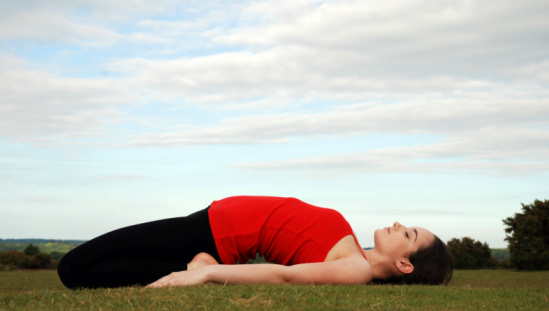 yoga reclining hero pose
