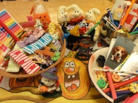 This is picture of MY Halloween treats ready for giveaway. Children's eyes light us when they it this.
