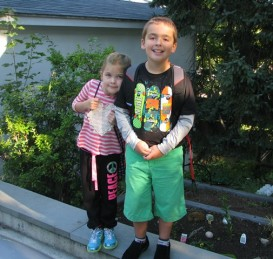 first day 2013_Erin and Ben walking to school
