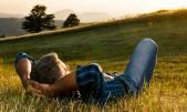 Man relaxing in a field