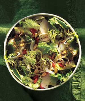 Greens with apricots and fennel - salad-green
