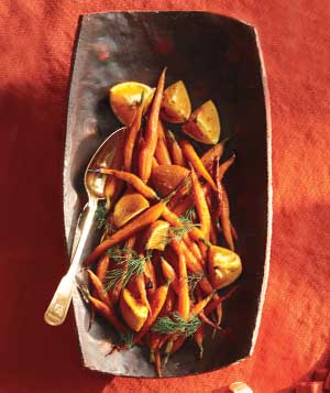 vegetable-tray- Honeyed carrots and oranges