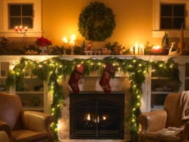 Christmas fireplace and tree