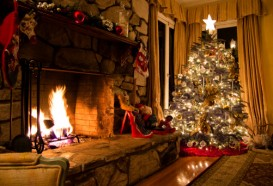xmas fireplace and christmas tree
