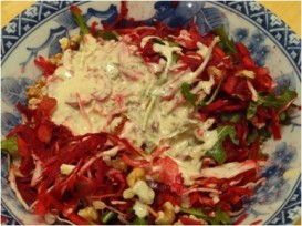 Warm Winter Crunchy Salad with warming Tahini Dressing.