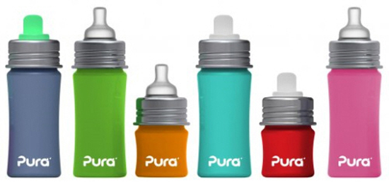 Pura Kiki stainless steel bottles with silicone spouts