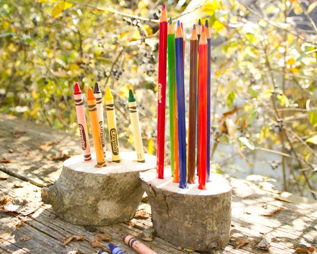 Tree Branch Crafts: Crayon Holder