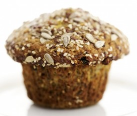 healthy muffin with sesame seeds