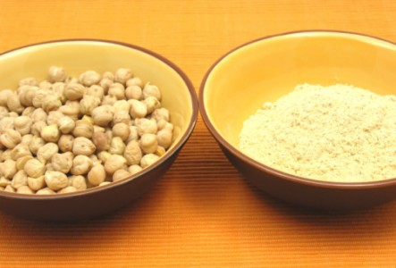 a bowl of chick peas and chick pea flower for use in baking without eggs