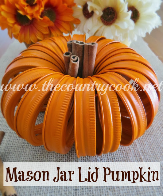 Mason Jar Lid Pumpkin (copyright, with graphics, www.thecountrycook.net)