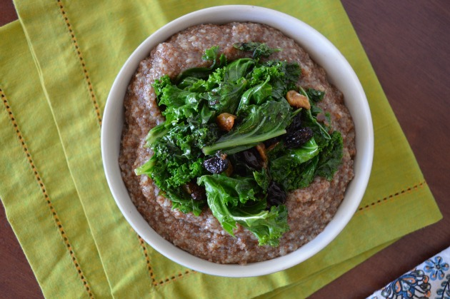 teff porridge with polenta and bitter greens