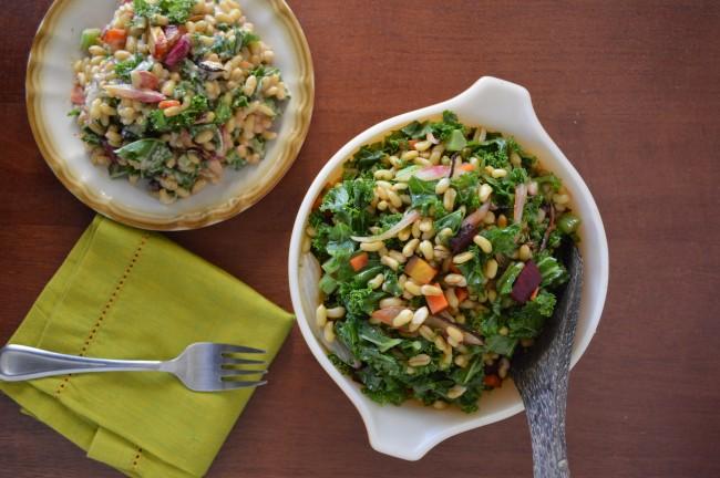 kamut salad leafy greens