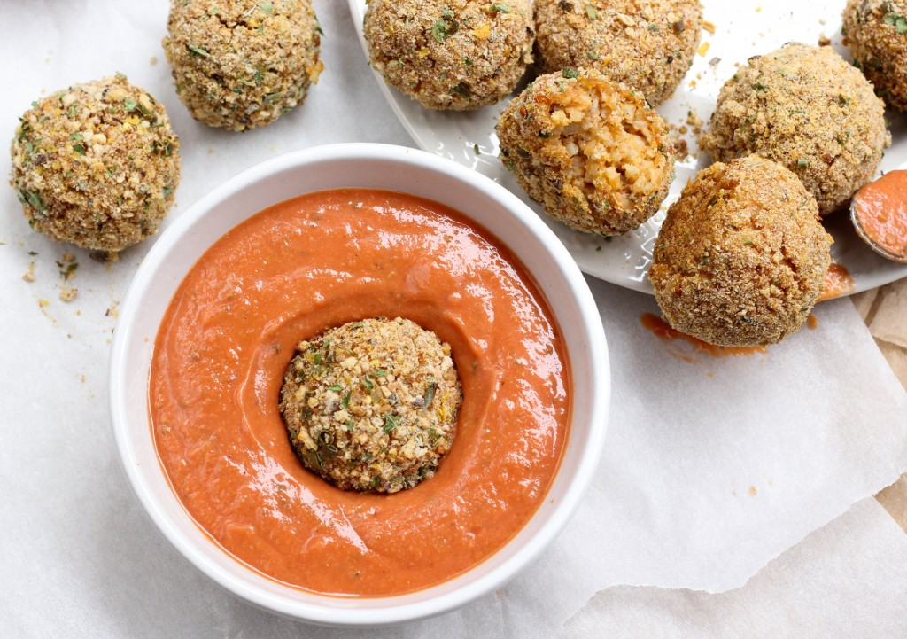 Meatballs, schmeatballs! Ceara's risotto rice balls dipped in tahini marinara are the perfect replacement for this traditional holiday party fare.