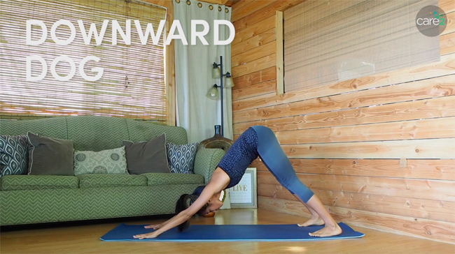 Downward dog is a standard yoga pose that is great for the whole body.