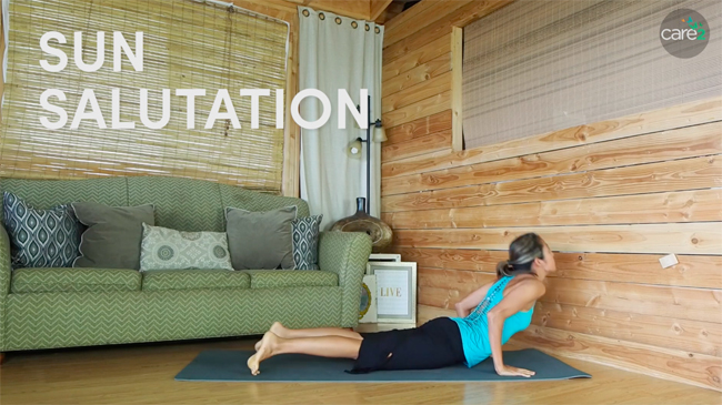 Sun Salutation is a series of poses that is great for the full body.