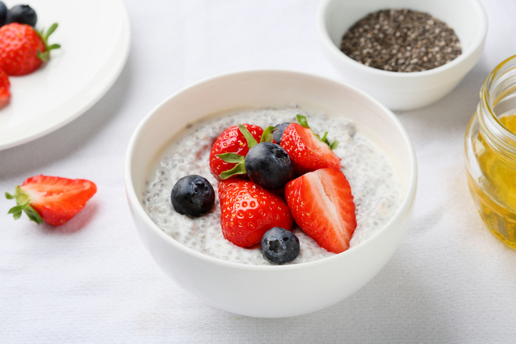 chia seeds pudding  with strawberry and blueberry
