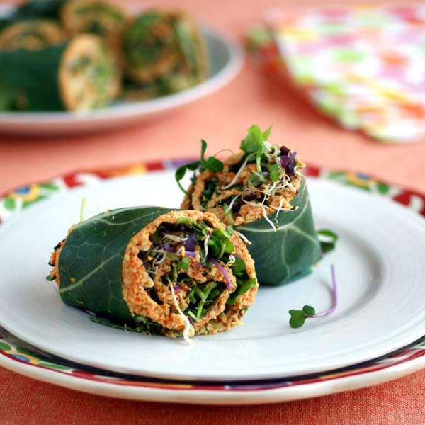 Collard Wraps with Curried Carrot Pate by Ricki Heller