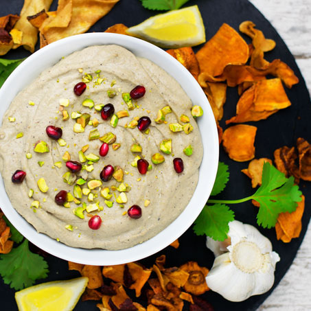 Pistachio Pomegranate Hummus from Contentedness Cooking