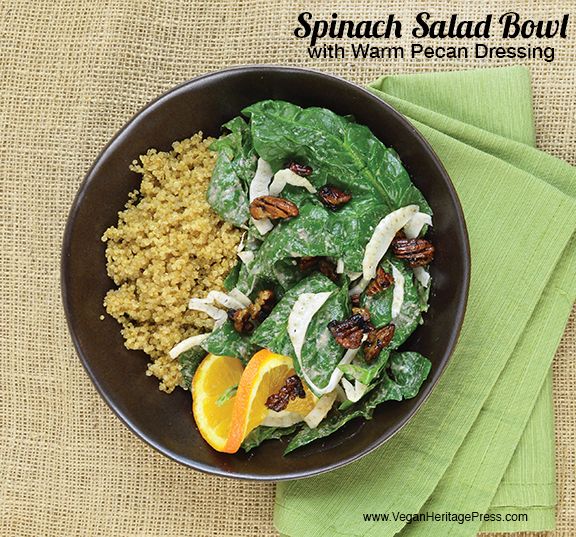 Warm Spinach Salad from Vegan Heritage Press