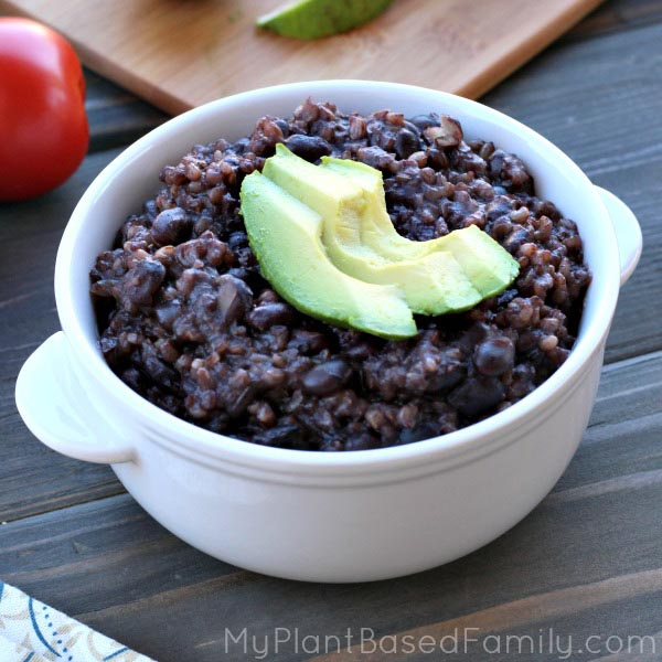 Pressure Cooker Black Beans and Rice from My Plant Based Family