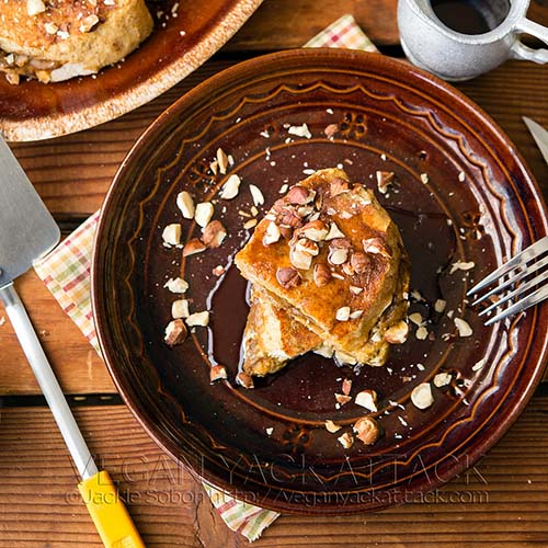 Pumpkin Cream Cheese Stuffed French Toast from Vegan Yack Attack