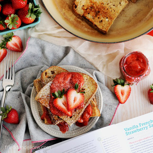 Vanilla French Toast with Strawberry Sauce from Fried Dandelions
