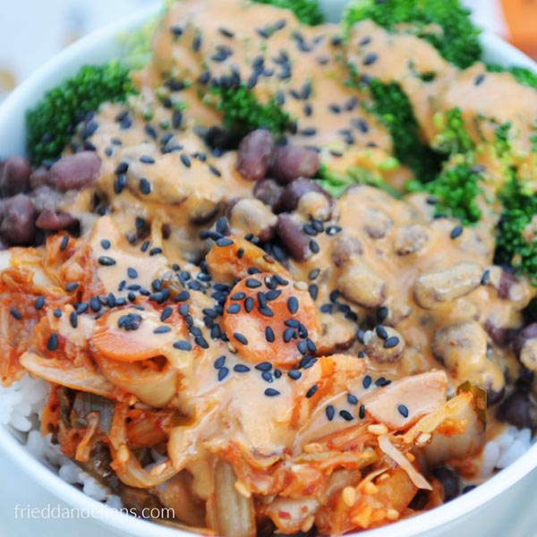 Kimchi Bowl with Almond Sauce via Fried Dandelions