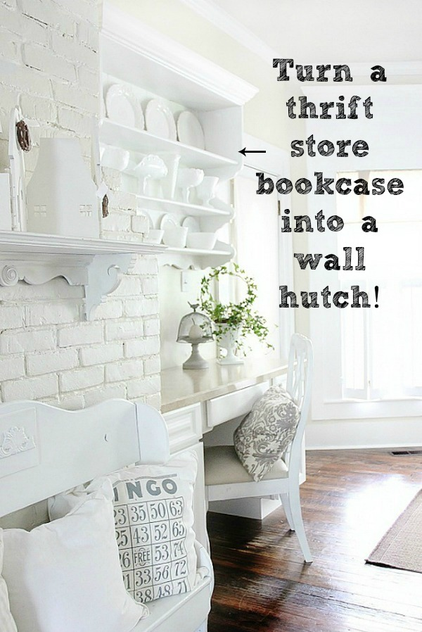 DIY wall hutch from a thrifted bookcase.