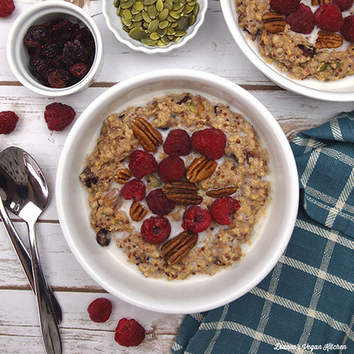 Quinoa Breakfast Bowl from Dianne's Vegan Kitchen