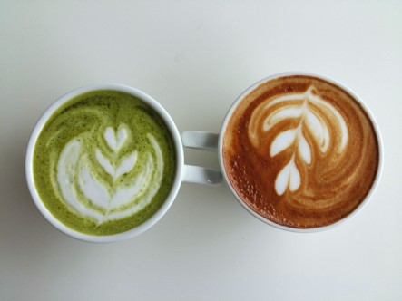 cup of matcha and latte art coffee so delicious