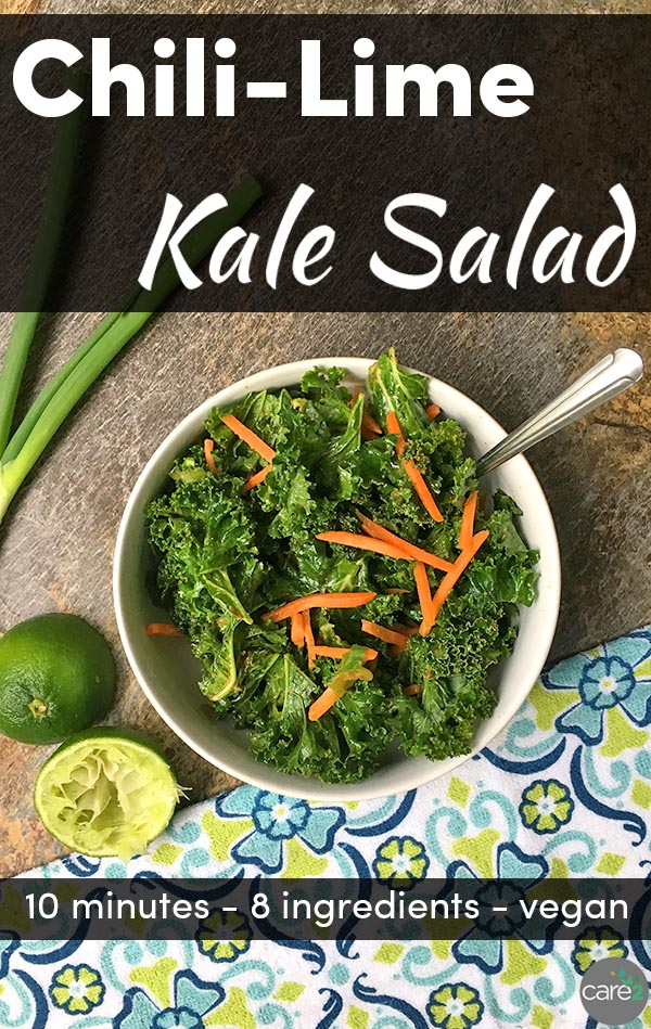 This flavorful kale salad recipe is a delicious side dish. It's also perfect stuffed into a taco or a burrito instead of your usual lettuce or spinach.