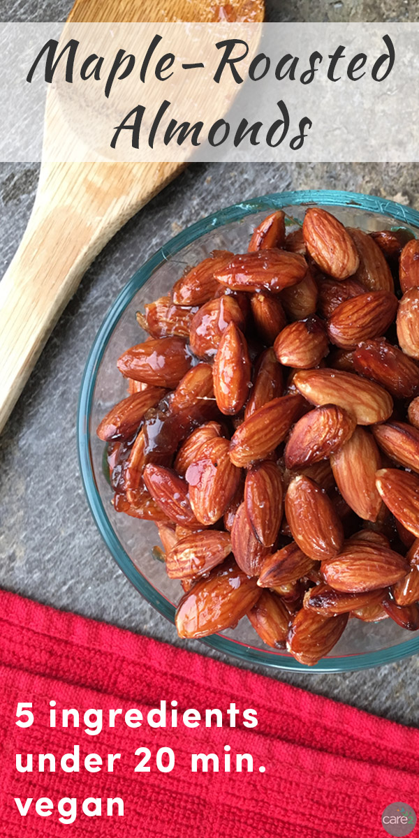 Addictive, sweet and salty, of Maple-roasted almonds are a fun way to sneak in the daily servings of nuts.