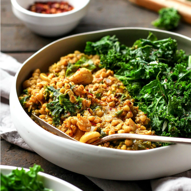 vegan toasted spicy buckwheat curry with kale
