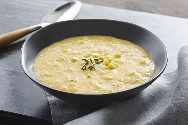 Creamy Golden Corn Soup with Amaranth from Go Dairy Free