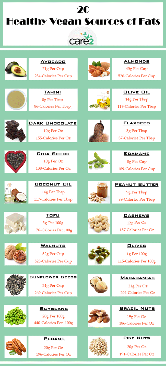 Healthy vegan sources of fats