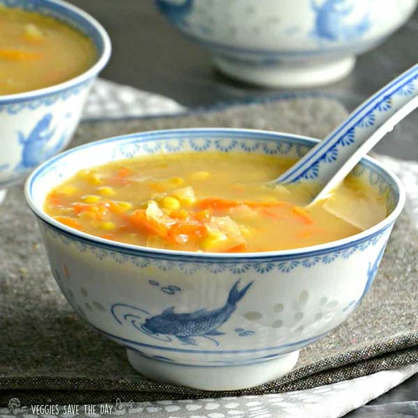 Indo-Chinese Corn Soup from Veggies Save the Day