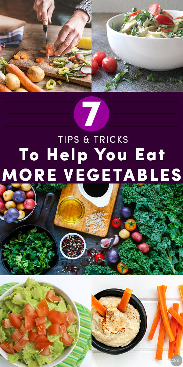 We could all stand to eat more veggies. Try these tricks to help you eat more vegetables at breakfast, lunch, dinner, and snack time!