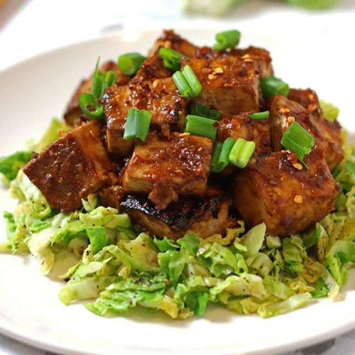 Asian Baked Tofu with Shaved Brussels Sprouts from V Nutrition