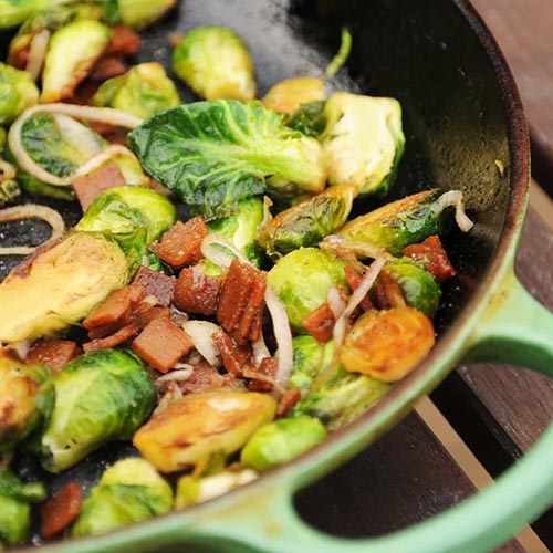 Brussels Sprouts with Bacon and Shallots from Fried Dandelions