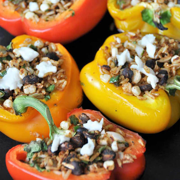 Grilled Dirty Rice Stuffed Peppers from Veganosity