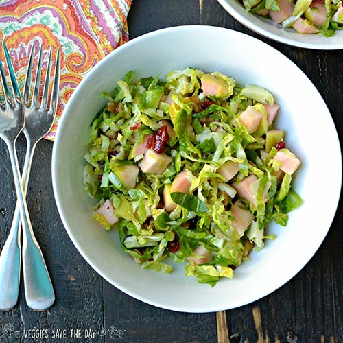 Raw Brussels Sprouts Salad with Apples from Veggies Save the Day