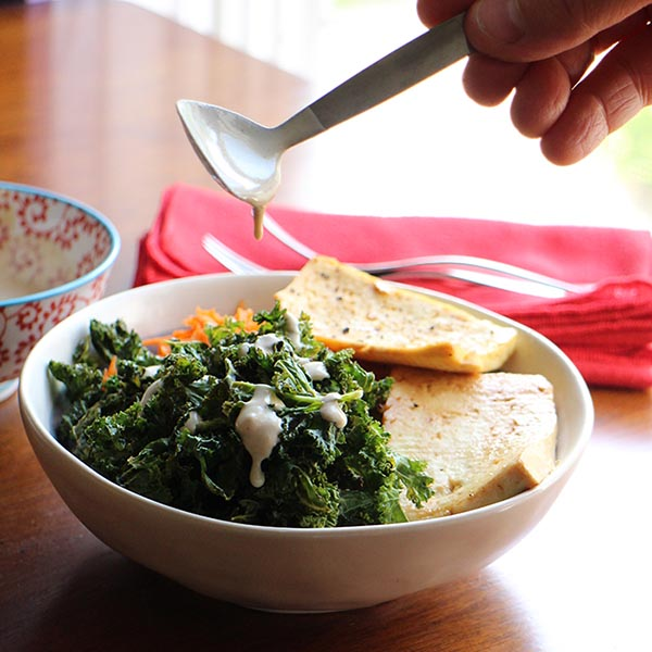 Tofu Kale Chip Bowl from Cadrys Kitchen