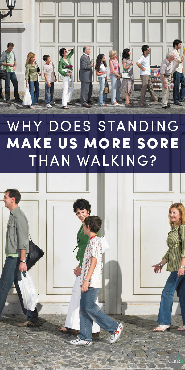 You know that physical activity makes your muscles sore, so why does standing seem to make you more sore than walking?