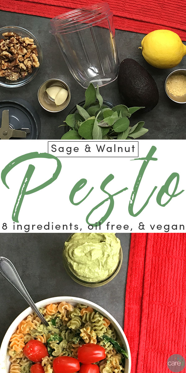 Step away from the basil, and try this Oil-Free Sage and Walnut Pesto on your next bowl of pasta. It's so quick and easy, it takes less time to make than it will to prepare your pasta of choice!