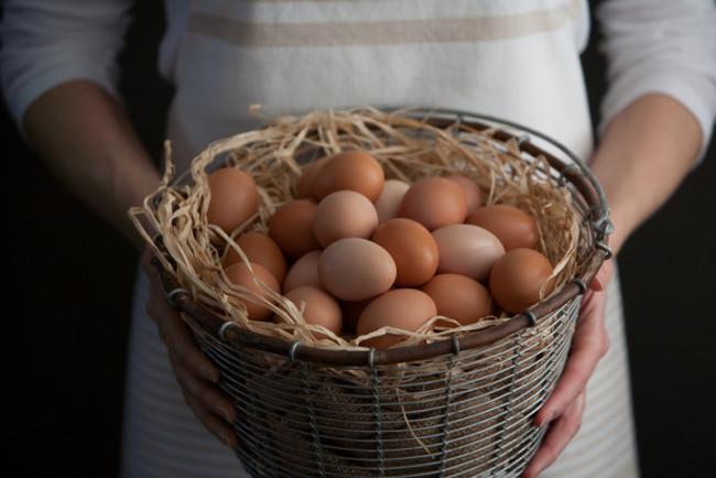 Woman Holding a Basket of Fresh Farm Chicken Eggs